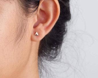 Small Triangle Stud Earrings, Triangle Earrings, Sterling Silver Earrings, Studs, Jewelry, Gift, Minimalist Earrings