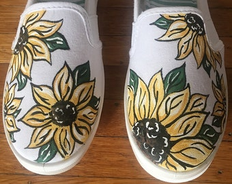 Handpainted Sunflower Shoes - Sunflowers - Spring Shoes - Floral Shoes