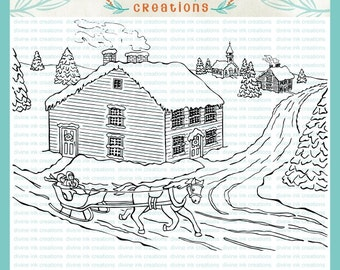 Christmas Winter Village with Horse Sleigh Digital Hand Drawn Stamp Illustration