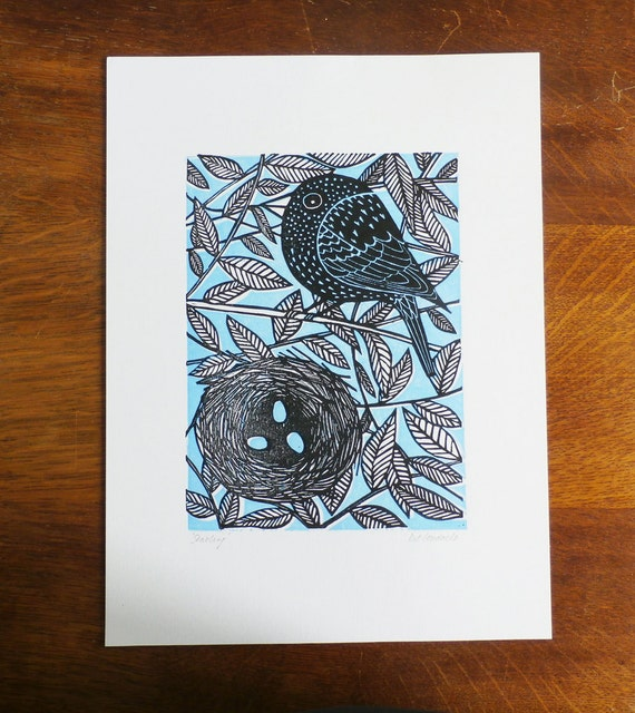 Starling Bird, Original Linocut Print, Signed Open Edition, Free Postage in UK, Hand Printed, Printmaking, Mothers Day, Blue print