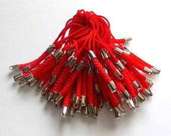 10 Red Braided Mobile Phone Strap