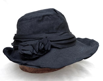 Black Fabric Hat /  Womens Spring  Brim Hat / Wedding Guest Hat / Vintage Inspired Hat / Millinery / Sun Hat /Downton Abbey Hat