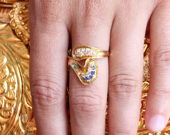 VINTAGE 21K Yellow Gold Crystal Ring Handmade in Baghdad, Iraq