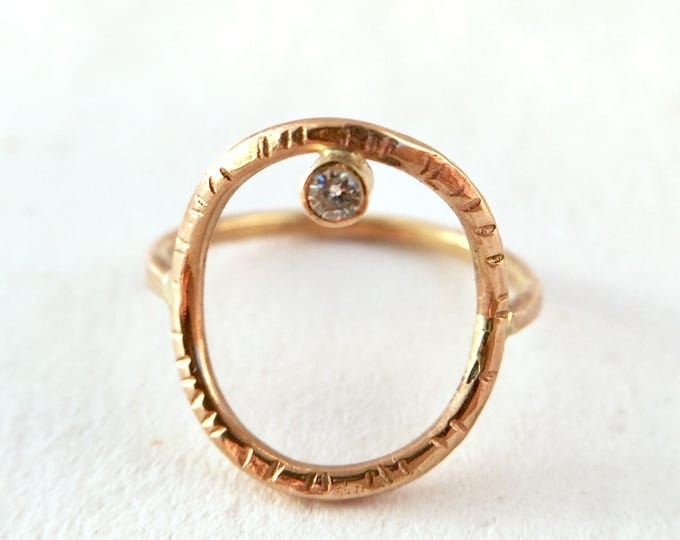 open circle moissanite engagement ring, charles clovard, black diamond ring, minimalist, simple alternative ring, donut, textured gold ring