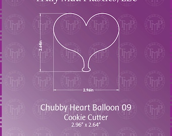 Chubby Heart 3D Printed Cookie Cutter, Valentine, Wedding
