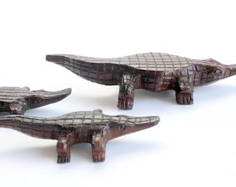 Hand Carved Wood Alligator, Wooden Figurines
