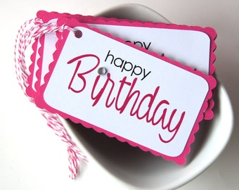 Happy Birthday Tags in Fuschia Hot Pink (Qty. 5)