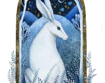 A fairy tale art print .  'Moon Light' by Amanda Clark.  Hare art, Landscape painting, Contemporary art