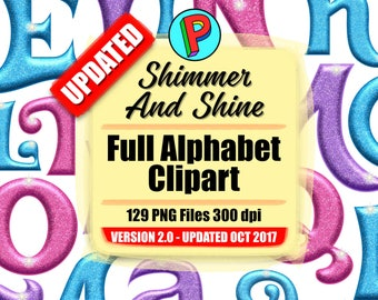 Shimmer and Shine - Full Alphabet Clipart Updated October 2017 - 129 png files 300 dpi - Instant Download