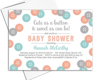 Gender neutral baby shower invitations unique | Neutral baby shower themes | cute as a button | printable baby shower invites - WLP00717