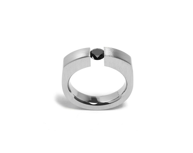 Ring Black Onyx Comfort Fit Stainless Steel Mens Tension Setting