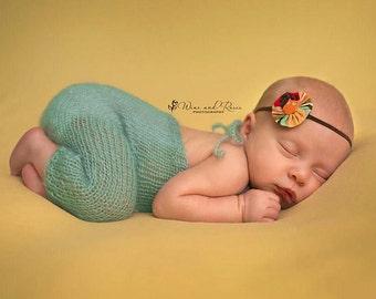Newborn Romper, Newborn Photo Prop, Sitter Romper, Overalls,  Mohair Romper, Knit Romper,
