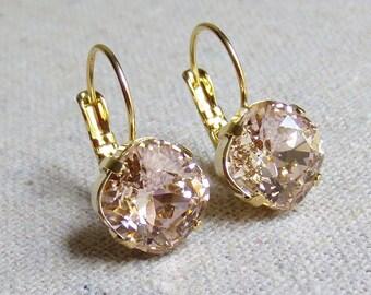 Swarovski Crystal Dangling Earrings, Blush Pink Leverback Earrings, Pale Rose Gold Earrings, Cushion Rhinestone Earrings, Bridesmaids Gifts