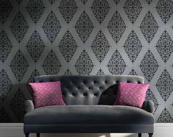 Arabesque Brocade Damask Stencil - DIY Home Improvement - Better than Wallpaper