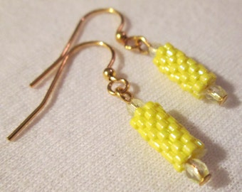 Daisy Yellow Delica Beaded Earrings