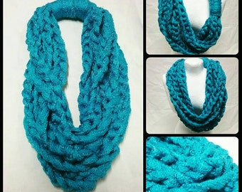 Layered Chain Scarf - Turquoise