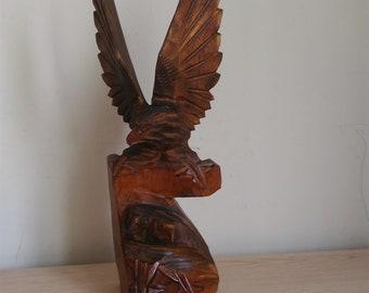 Big wooden Two Eagles Soviet Vintage Hand Carved Eagle,SSSR Wooden Eagle,Handmade Wooden Eagle,Eagle statuette,Eagle figurine