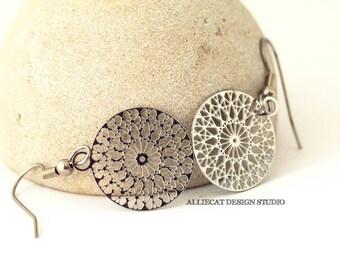 Boho Earrings | Gypsy Earrings | Bohemian  Earrings | Bohemian Stainless Steel Small Filigree Medallion Earrings | NEW