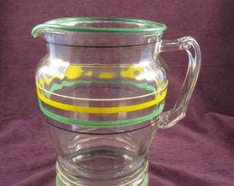 Retro Serving Pitcher with Green & Yellow Stripes