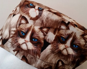 scrub hat surgical cap/grumpy cat siamese/elastic toggle back/ for theatre nurses doctors dentists vets and more