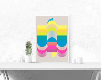 The City of Temples -  Geometric Graphic Design Art Poster - 16x20 or A2 Abstract