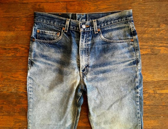 Vintage LEVIS 517 Boot Cut Distressed & DESTROYED Denim Work JEANS 33x30 #3 6YiRYT0co
