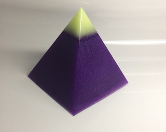 Glowing blue & green capstone, Metallic Purple Glitter Pyramid