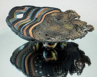 Fiber Valet Bowl - Black Gold Copper, Silver Home Decor Textured Vessel No. 143