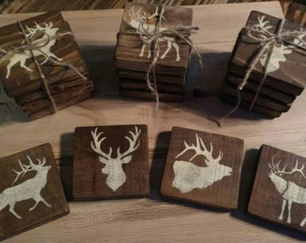 Pallet wood Elk coasters, 4 piece set with 4 different scenes.
