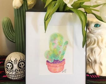 Abstract Cactus Watercolor