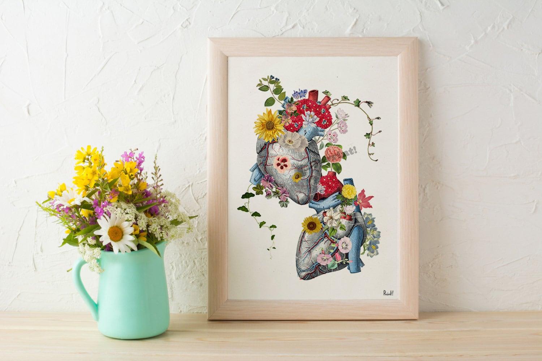 Wall art prints Hearts in love -Anatomical heart, wall decor, 1 st ...