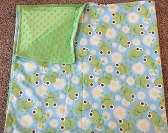 Frogs and flowers minky blanket