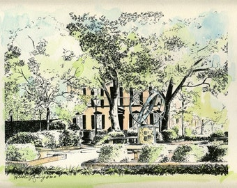 Troup Square Savannah Hand Painted Watercolor Print