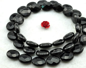 37 pcs of Black Onyx faceted oval beads in 8X10mm
