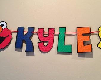 Sesame Street Elmo Your Childs Name and Age Birthday 1 or 2 pc Banner, Elmo Banner Sesame Street Birthday Decoration Sesame Street Party Ban
