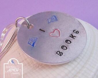 I Love Books Keyring, Aluminium Keyring, Hand Stamped Keyring, Book Keyring, UK