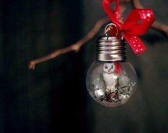 Miniature owl ornament, barn owl, handmade Christmas ornament, OOAK miniature figurine,