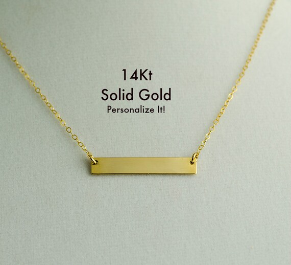 Real Gold Bar Necklace Solid Gold Bar Necklace Womens 14kt