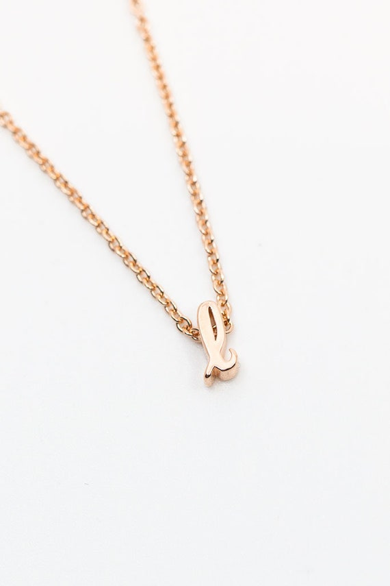 Personalized Necklace Rose Gold Script Initial Letter