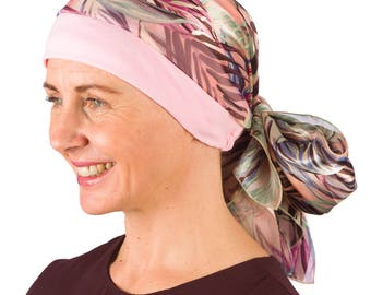 Ella - Jersey Cotton Hat with Chiffon Scarf for Cancer, Chemo and Hair Loss