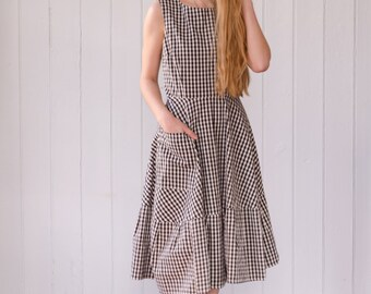 Gingham Dress in Organic Cotton, cotton summer dress, gingham dress,