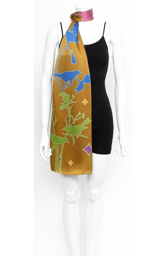 Golden handmade silk scarf with Colorful birds on branches