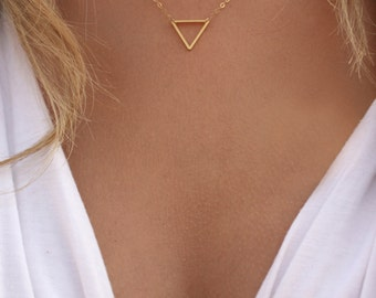 Tiny Gold Triangle Necklace / Minimal Triangle / Delicate Triangle Necklace / Little Gold Triangle / Geometric Layering Necklace /Matte Gold
