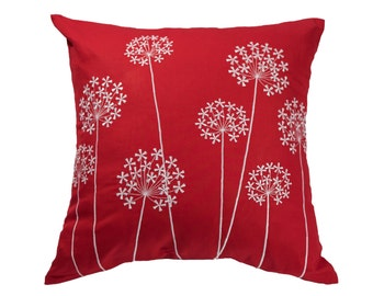 Dandellion Pillow, Red Pillow, Throw Pillow Cover, Embroidery,Floral Embroidery,Linen Pillow, Red Cushion,Decorative pillow for couch