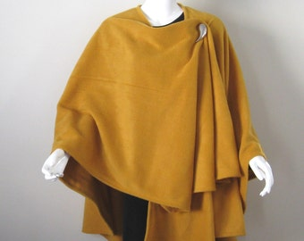 Mustard Yellow Fleece Cape - Large Shawl Poncho - Baby Wearing Wrap, Babywearing, Maternity Coat, Plus Size, One Size FIts Most