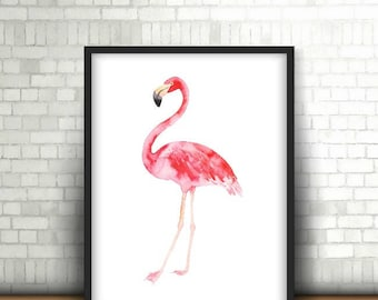 Flamingo Print, Flamingo Art, Flamingo Art Print, Pink Flamingo Decor, Flamingo Wall Art, Watercolor Flamingo, Digital Print, Printable Art