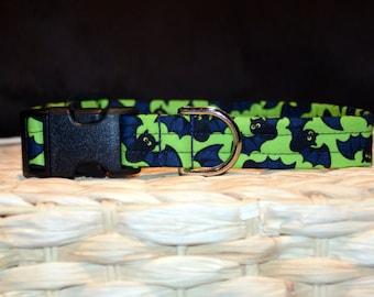 Dog Collar – Halloween Dog Collar – Bat  Dog Collar - Halloween Bats Dog Collar - Handmade Fabric Dog Collar