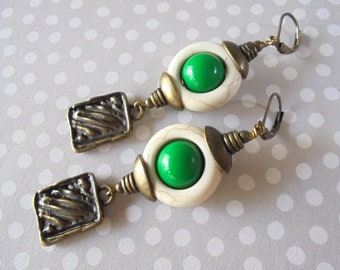 White, Green and Brass Ethnic Earrings (4420)
