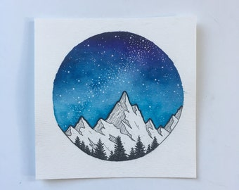 ORIGINAL Watercolor Galaxy Painting, Triangle Galaxy, Galaxy Painting, Watercolor Night Sky Painting, Stars Home Decor, Forest Art, Galaxy
