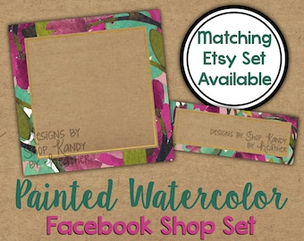 Facebook Timeline Set - Watercolor Shop Banner - Watercolor Timeline Cover - Profile Image - Watercolor Floral Facebook Shop Set